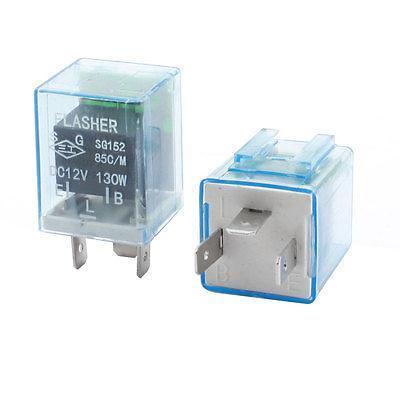 2 Pcs Clear Blue Plastic LED Light Fast Blink Flash Car Flasher Relay DC 2V 130W