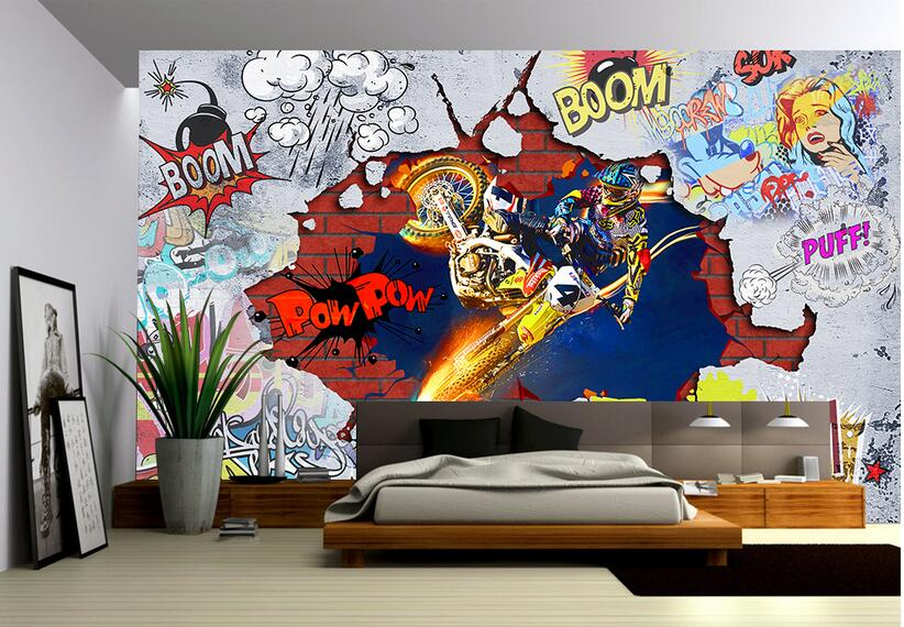 Custom photo 3d wallpaper non woven mural wall sticker cool motorcycle graffiti painting picture 3d