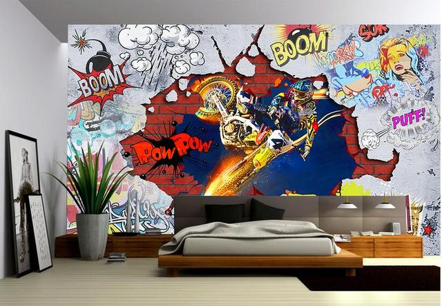 benutzerdefinierte foto 3d tapete wandaufkleber coole motorrad graffiti malerei bild 3d wand. Black Bedroom Furniture Sets. Home Design Ideas