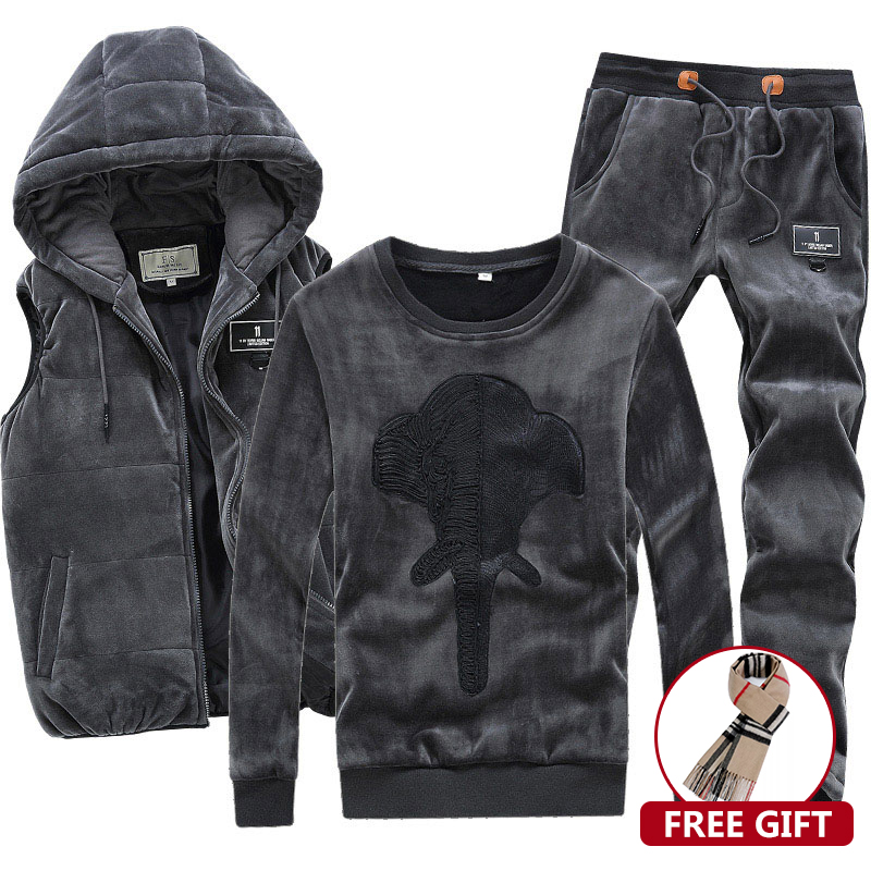 3 Pieces Velour Velvet Men Set Hoodie Pants Vest Hooded Warm Brand Hoodie Sweatshirt Winter Coat Fleece Hip Hop Men Sports Suit