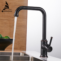 Kitchen Faucets Black Color Brass Crane Kitchen Faucets Hot And Cold Water Mixer Tap Single Hole
