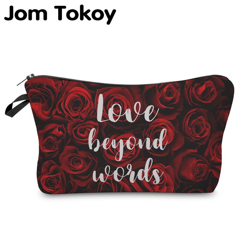 Jom Tokoy Cosmetic Organizer Bag Make Up Printing Rose Cosmetic Bag Fashion Women Brand Makeup Bag Hzb920