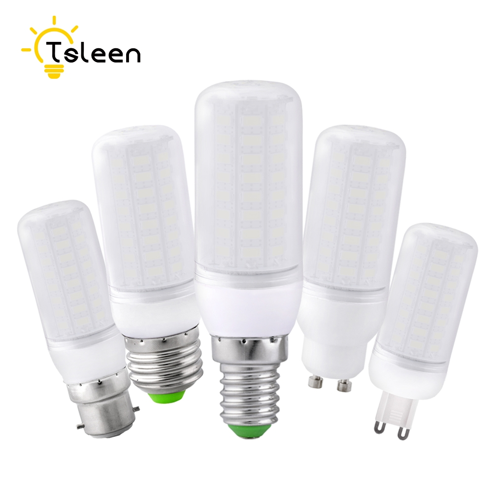 TSLEEN E27 LED Lamp E14 B22 GU10 G9 LED Bulb Smart IC 220V 110V Corn Light No Flicker 48 56 69 72LEDs SMD 5730 Chandelier Light
