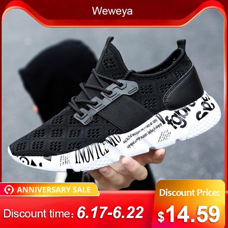Weweya tejido hombres Zapatos casuales transpirables Hombre Zapatos Tenis Masculino Zapatos Hombre Sapatos zapatillas de deporte al aire libre hombres