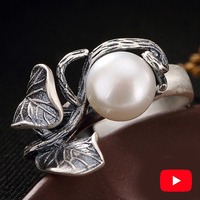 NOT FAKE S925 Fine Antique Ring 925 Sterling Silver Women Handmade Vintage Natural Retro Exquisite freshwater pearl leaf