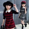 Vestidos para Niñas de Manga Larga a cuadros Ropa de Muy Buen Gusto Ocasional Niños Vestido Visten Ropa de Los Niños Del Bebé Estudiantes 2T-12Y Vestido Infantil
