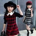 Vestidos xadrez para Meninas de Manga Longa Roupas de Mauricinho 2T-12Y Estudantes Casuais Crianças Vestido Bebê Vestido Roupa Das Crianças Vestido Infantil