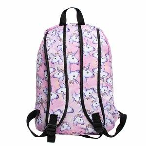 Image 4 - Deanfun 3 قطعة/المجموعة المرأة المطبوعة يونيكورن على ظهره الحقائب المدرسية للمراهقات حقائب الكتف الرباط