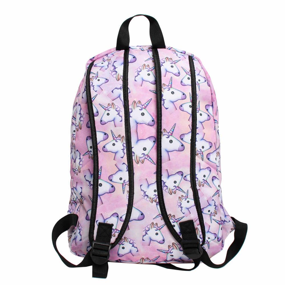 d57e2e217c07 ... Deanfun 3PCS  set Women Printed Unicorn Backpack School Bags For Teenage  Girls Shoulder Drawstring Bags ...
