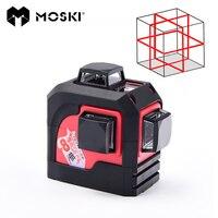 MOSKI, MW 93T 3D 12 линий лазерный уровень, красный лазерный уровень вариантов, наливные 360 по горизонтали, вертикальный крест супер мощный
