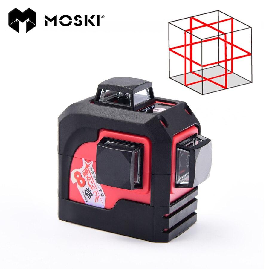 MOSKI, MW-93T 3D 12 Lignes niveau laser, Laser Rouge niveau options, Auto-nivelant 360 Horizontale, coupe verticale Super Puissant