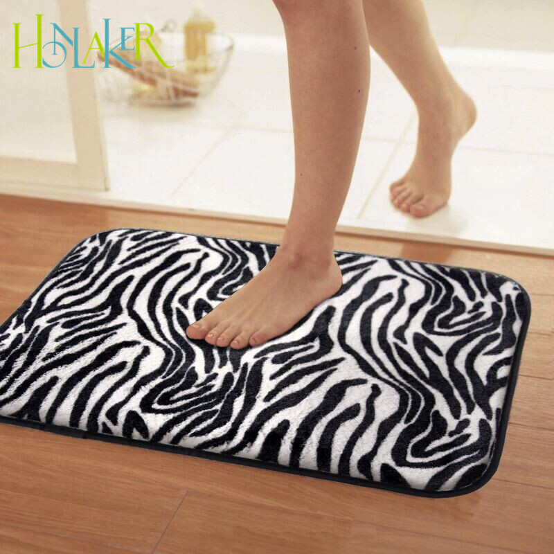 Advanced non slip mats doormat plush zebra stripes soft bedroom carpet  Black   white bathroom