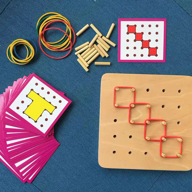 Купить с кэшбэком Baby Montessori Educational Wooden Toys Graphics Rubber Tie Nail Boards with Cards Educational Early Learning Toys YG0364H