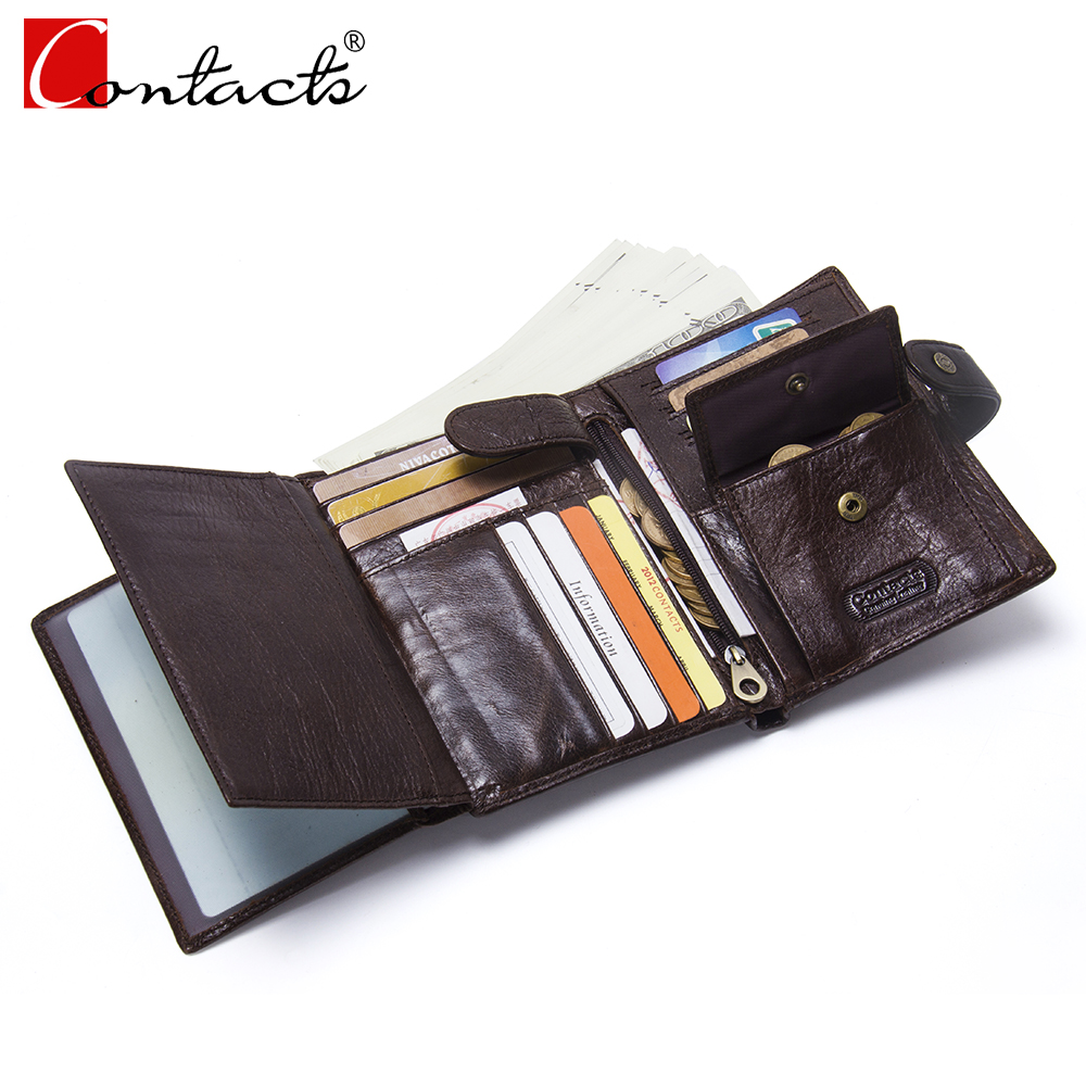 CONTACT'S Genuine Leather Men Wallet Hasp Short Wallets Male Vintage Folded Men's Wallet With Card Holder Photo Passport Pocket genuine leather mens wallet black hasp men purse with zipper coin pocket portfolio male short card holder vertical men wallets