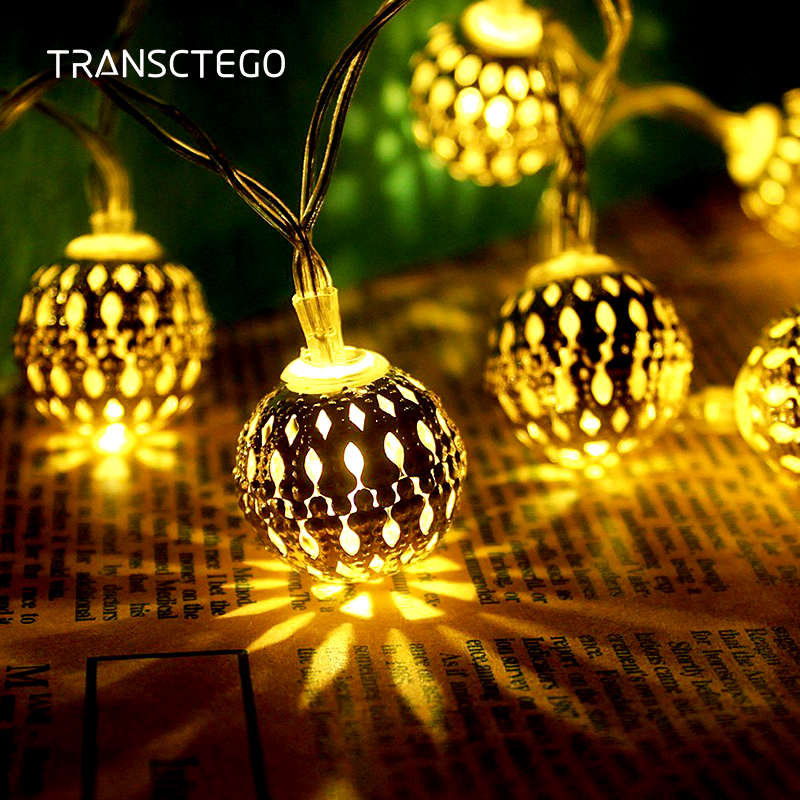 Solar Lamp Waterproof Outdoor Garden Courtyard For Christmas Festival Decorative Lights 10 LED Morocco Style Lamp Strings