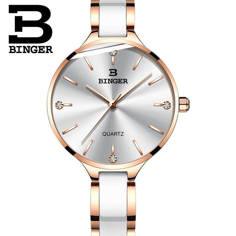 Швейцария Бингер роскошные женские часы бренд кристалл браслет моды часы женские наручные часы Relogio Feminino B 11853 - 3