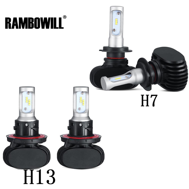 Rambowill 2x H7 H13 LED Car Headlight Bulbs 50W Cree CSP Chips 6500K 8000lm Auto Headlamp Kit DC 12/24V  For Jeep/Ford/Mazda