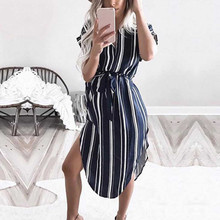 Maternity Dress Polyester 2019 Fashion Women Summer Short Sleeve Stripe Pregnancy Dresses Clothes
