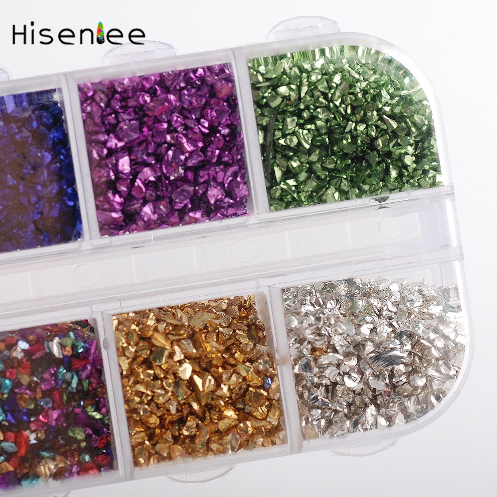 Hisenlee 12Colors/BOX 3D Nail Art Crushed Glass Powder Broken Nail Glitter Powder Decoration Rhinestones For Tips Nail Art Set 1 box about 12000pcs ss6 2mm 12color acrylic non hot fix rhinestones diy 3d nail art glitter decoration manicure nail tips