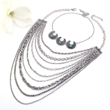 2017New Design Bohemia Moon Turquoise Multilayer Necklaces Women Ethnic Carved Flower Antique Silver Necklaces Fashion Jewelry vintage jewelry bohemian tibetan silver chain necklaces gypsy ethnic carved metal flower pendants necklaces for women