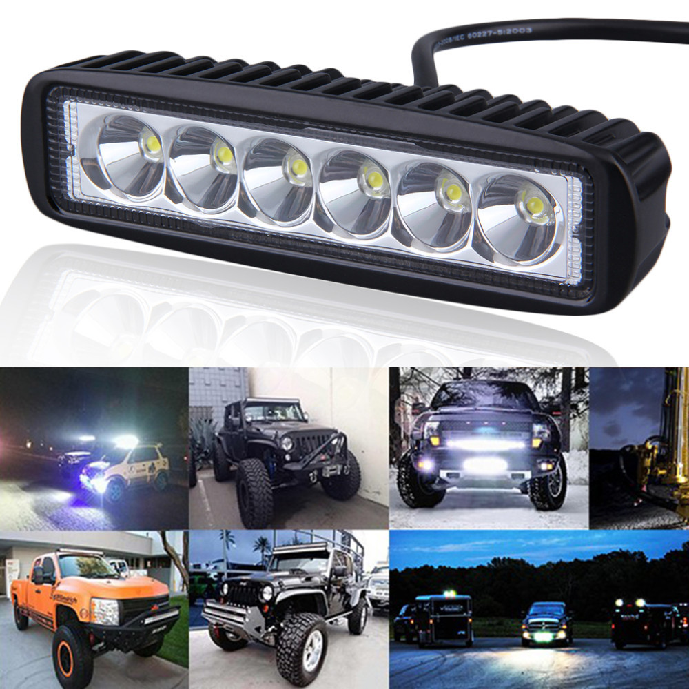 1/2pcs 18w DRL LED Work Light 10-30V 4WD 12v Aluminum Alloy Shell for Off Road Truck Bus Boat Fog Light Car Light Assembly