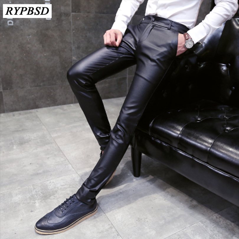 Men New Skinny Pants Faux Leather Leisure Trousers Slim Fit Fashion Tight Zipper