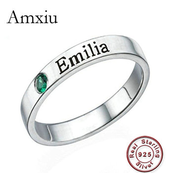 Amxiu Customized 925 Sterling Silver Ring Personalized Birthstone Promise with Name Custom Zircon Jewelry For Women Lovers