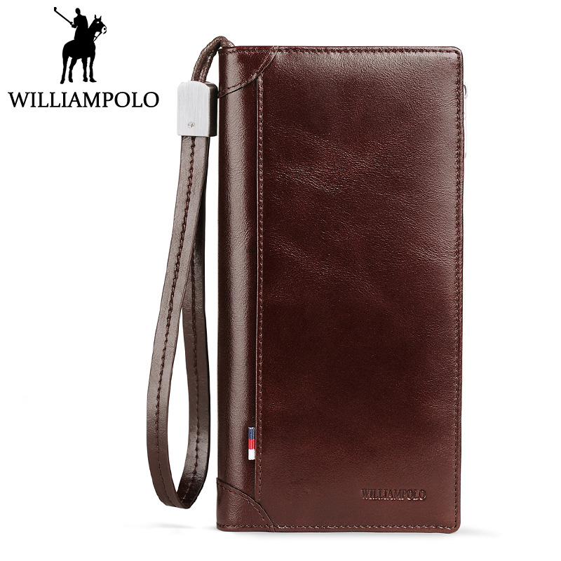 WILLIAMPOLO Vintage Long Wallet Men Zippper Card Holder Bifold Natural Leather Wallet Male Fashion New Year Christmas Gift Purse williampolo 2017 card wallet men 10 card slots genuine leather button closure fashion long men wallet polo174