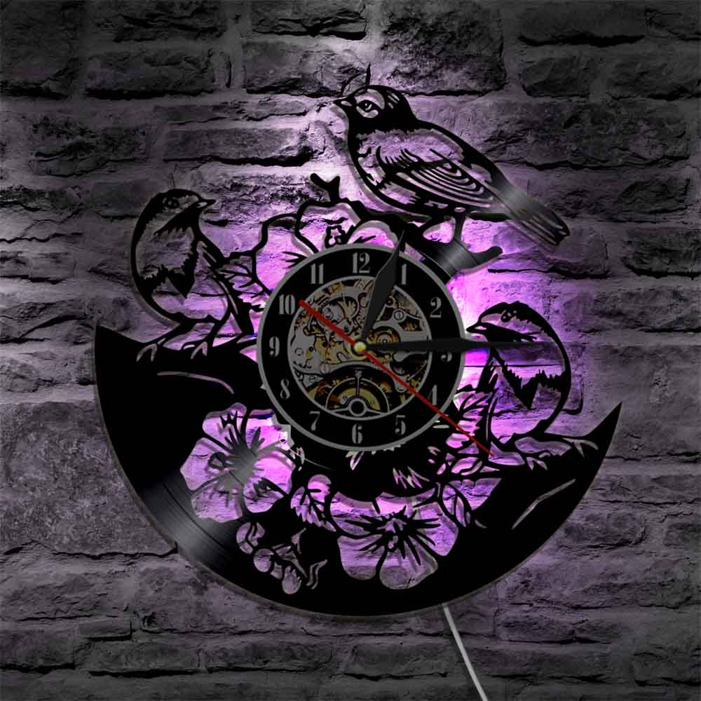1Piece Sparrows On Tree And Flowers Vinyl Record Wall Clock With LED Backlight Birds Family Creative Wall Watch Home Decor