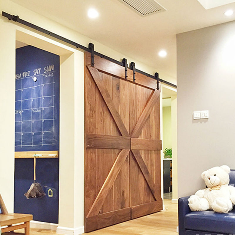 Double Panel Antique Style Steel Sliding Barn Door Closet Hardware