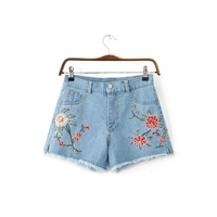 2018 Summer Women Highwaisted Mini Jeans Shorts Vintage floral embroidered Short Denim Feminino Slim Sexy Casual Shorts Jeans