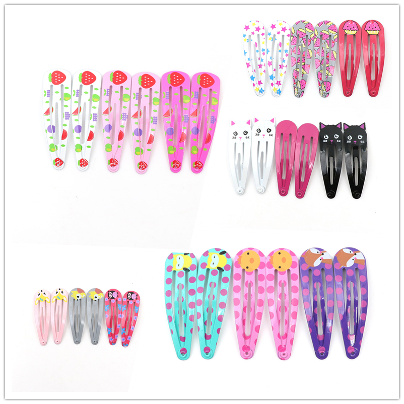 High Quality 2019 NEW Baby Mini Printing Snap Hair Clips For Kids Solid Metal Hairpins Girls Hair Accessories Clips