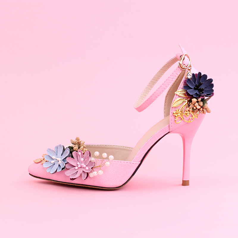 Original spring and summer shoes woman Shanda leather retro Bridal Shoes  pink crystal high heels shoes wedding shoes lace bow 2b02b6b77614