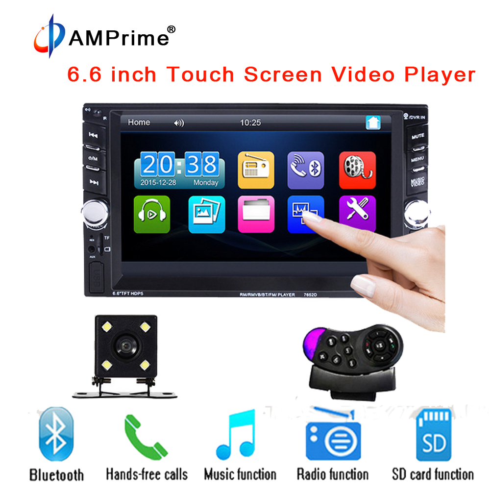 AMPrmie 2 Din In Dash Car Multimedia Player 6.6 inch LCD Touch screen Bluetooth Stereo Radio Steering Wheel Remote Control