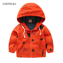 COOTELILI Cute Fish Printing Children Outerwear Spring Autumn Coat Baby Boys Girls Jackets Boys Outerwear Clothing 70-120cm cheap Outerwear Coats Active Full REGULAR Hooded Fits true to size take your normal size Canvas COTTON Solid jacket kids baby jacket