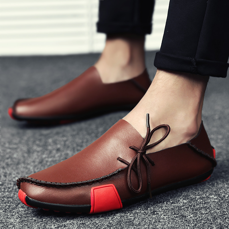 2019 New Leather Mens Loafers Fashion Shoes Handmade Moccasins Soft Leather Slip On Men's Boat Shoe PLUS SIZE 38~47