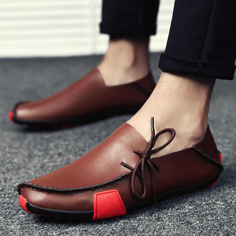 2019 новые кожаные мужские лоферы; модная обувь; мокасины ручной работы; мужские мокасины из мягкой кожи без застежки; большие размеры 38-47