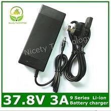 Carregador de bateria de lítio do carregador 37.8 v 3a 37.8v3a para o bloco da bateria de lítio 9 s
