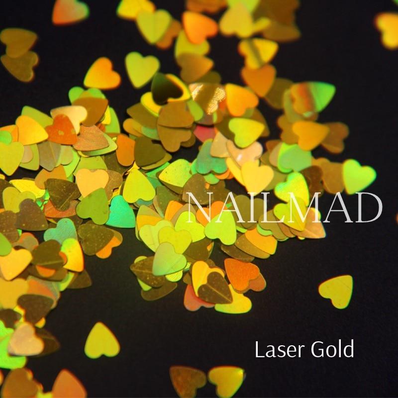 1box NailMAD Лазерлік Nail Sequins Heart Shape Nail Sparkles - Маникюр - фото 3