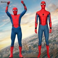 Marvel Spider Man: Far From Home Costume Peter Parker Spiderman Cosplay Adult Halloween Carnival Bodysuit Zentai Web Shooter