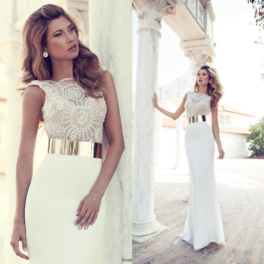 Popular Long White Prom Dress with Gold Belt-Buy Cheap Long White ...