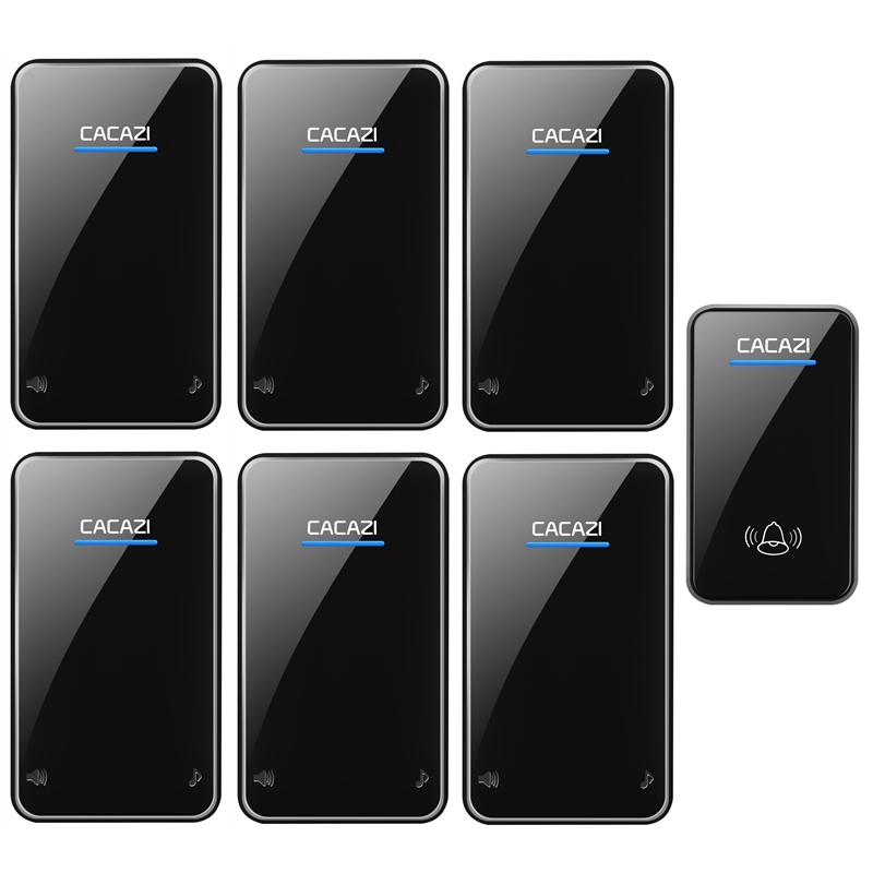 CACAZI waterproof wireless doorbell AC 100-240V EU/US/UK plug door bell 1 transmitter+6 receivers 48 rings 6 volume door chime cacazi ac 110 220v wireless doorbell 1 transmitter 6 receivers eu us uk plug 300m remote door bell 3 volume 38 rings door chime