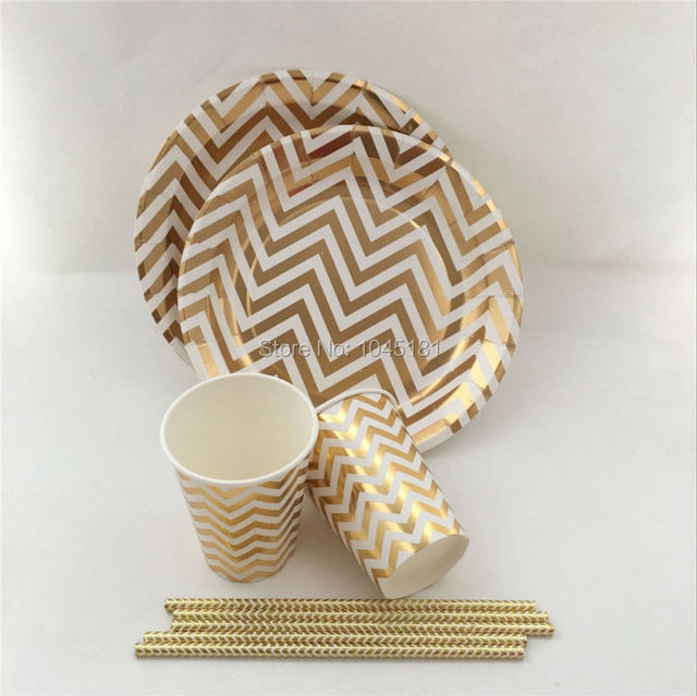 Party Paper Products Set Gold/Silver Theme Disposable Chevron Kids Birthday Tableware Paper Plates Cups & Party Paper Products Set Gold/Silver Theme Disposable Chevron Kids ...