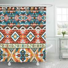 Shower Curtains Bathroom Curtain Aztec Colorful Pattern in Tribal Style Navajo Geometric Boho African American Boho Chic bath(China)