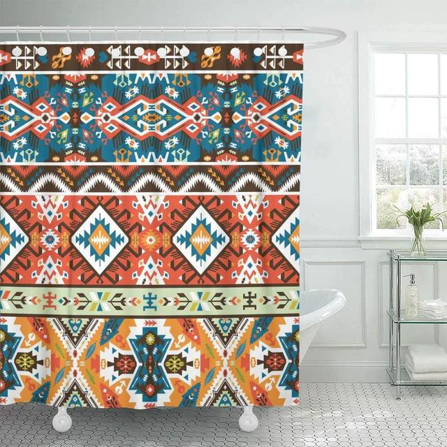 Shower Curtains Bathroom Curtain Aztec Colorful Pattern In Tribal Style Navajo Geometric Boho African American Chic Bath