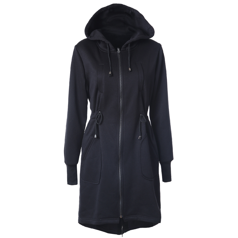 Lady Fashion Long Hoodies Casual Spring Autumn Long Sleeve Pocket Design Warm Hooded Sweatshirts Sliming Solid Zipper Outerwear