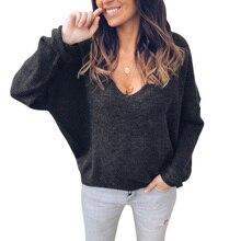 2019 camiseta coreana a la moda para mujer camiseta con escote en V Camiseta de manga larga de murciélago Otoño Invierno suelta Casual túnica femenina