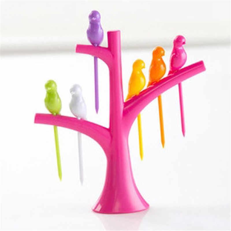6 pçs/lote Passarinho Pássaros Na Árvore de Fruta Garfo de Sobremesa Garfos Engraçadas Para Bolo Louça Fontes Do Partido Do Evento Do Partido de Cocktail