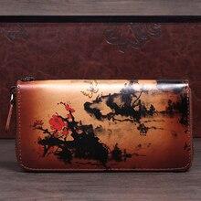 Длинный кошелек из натуральной кожи, Женский кошелек, известный бренд, мульти-держатель для карт, цветочный клатч, сумка для денег, винтажная женская сумка на молнии
