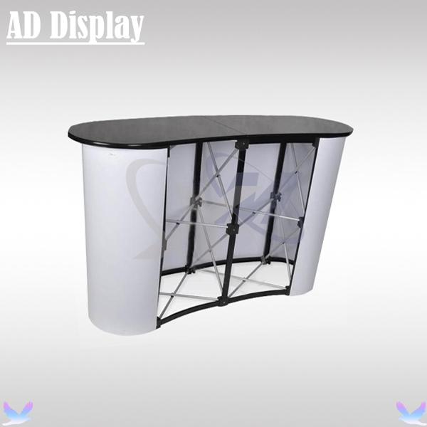 2*2 High Quality Curve Shape Portable Promotion Exhibition Display Pop Up Table,Trade Show Pop Up Podium Counter